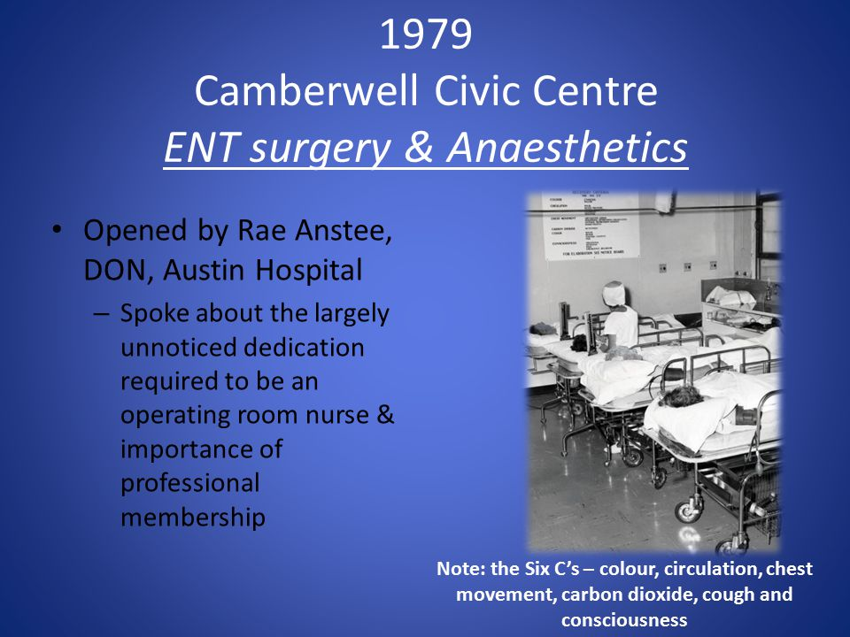 1979 Camberwell Civic Centre ENT surgery & Anaesthetics Opened by Rae Anstee, DON, Austin Hospital – Spoke about the largely unnoticed dedication required to be an operating room nurse & importance of professional membership Note: the Six C's – colour, circulation, chest movement, carbon dioxide, cough and consciousness