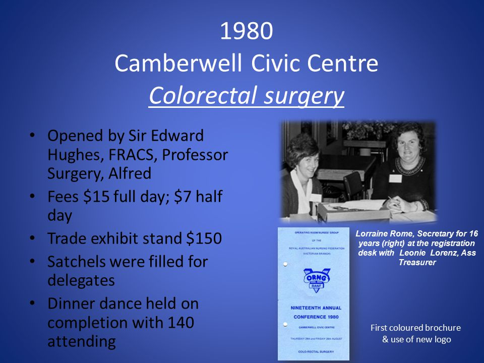 1980 Camberwell Civic Centre Colorectal surgery Opened by Sir Edward Hughes, FRACS, Professor Surgery, Alfred Fees $15 full day; $7 half day Trade exhibit stand $150 Satchels were filled for delegates Dinner dance held on completion with 140 attending First coloured brochure & use of new logo Lorraine Rome, Secretary for 16 years (right) at the registration desk with Leonie Lorenz, Ass Treasurer