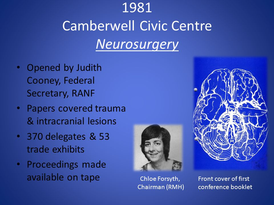 1981 Camberwell Civic Centre Neurosurgery Opened by Judith Cooney, Federal Secretary, RANF Papers covered trauma & intracranial lesions 370 delegates