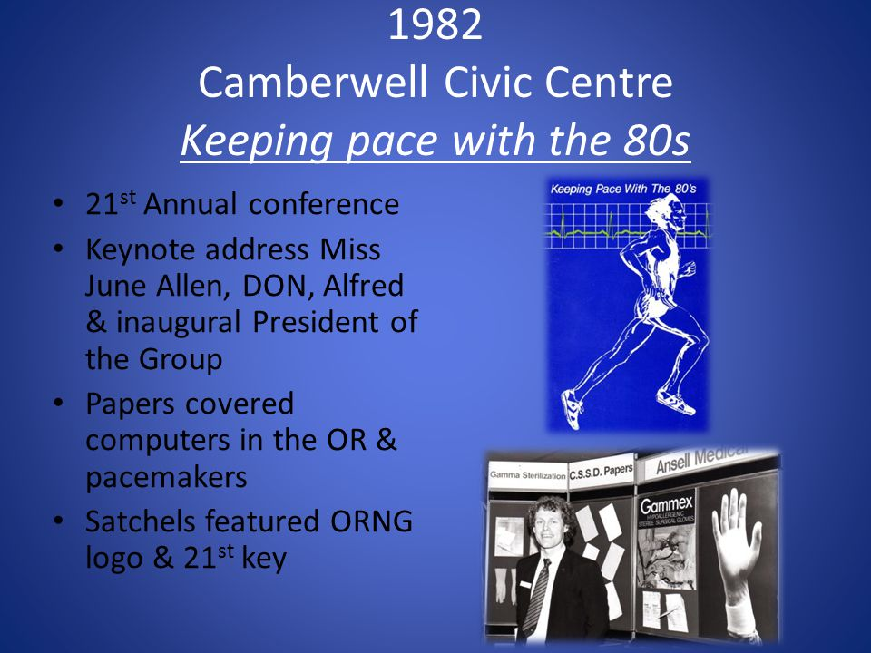 1982 Camberwell Civic Centre Keeping pace with the 80s 21 st Annual conference Keynote address Miss June Allen, DON, Alfred & inaugural President of t