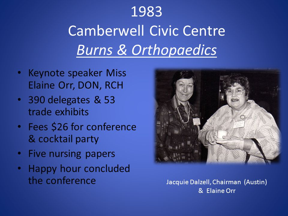 1983 Camberwell Civic Centre Burns & Orthopaedics Keynote speaker Miss Elaine Orr, DON, RCH 390 delegates & 53 trade exhibits Fees $26 for conference & cocktail party Five nursing papers Happy hour concluded the conference Jacquie Dalzell, Chairman (Austin) & Elaine Orr