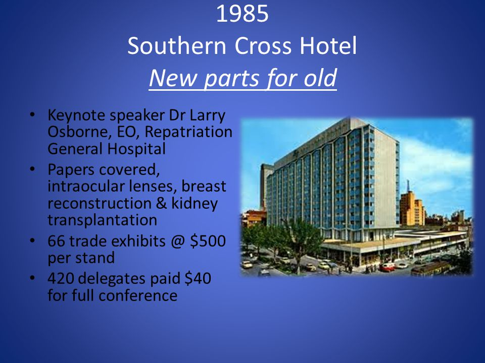 1985 Southern Cross Hotel New parts for old Keynote speaker Dr Larry Osborne, EO, Repatriation General Hospital Papers covered, intraocular lenses, br
