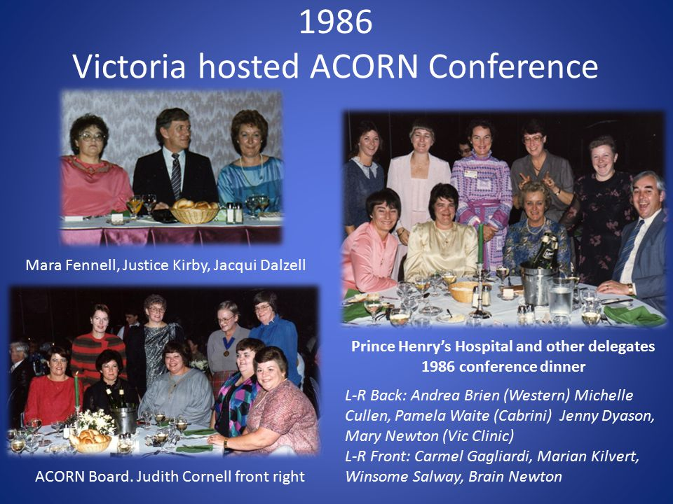 1986 Victoria hosted ACORN Conference Mara Fennell, Justice Kirby, Jacqui Dalzell L-R Back: Andrea Brien (Western) Michelle Cullen, Pamela Waite (Cabr