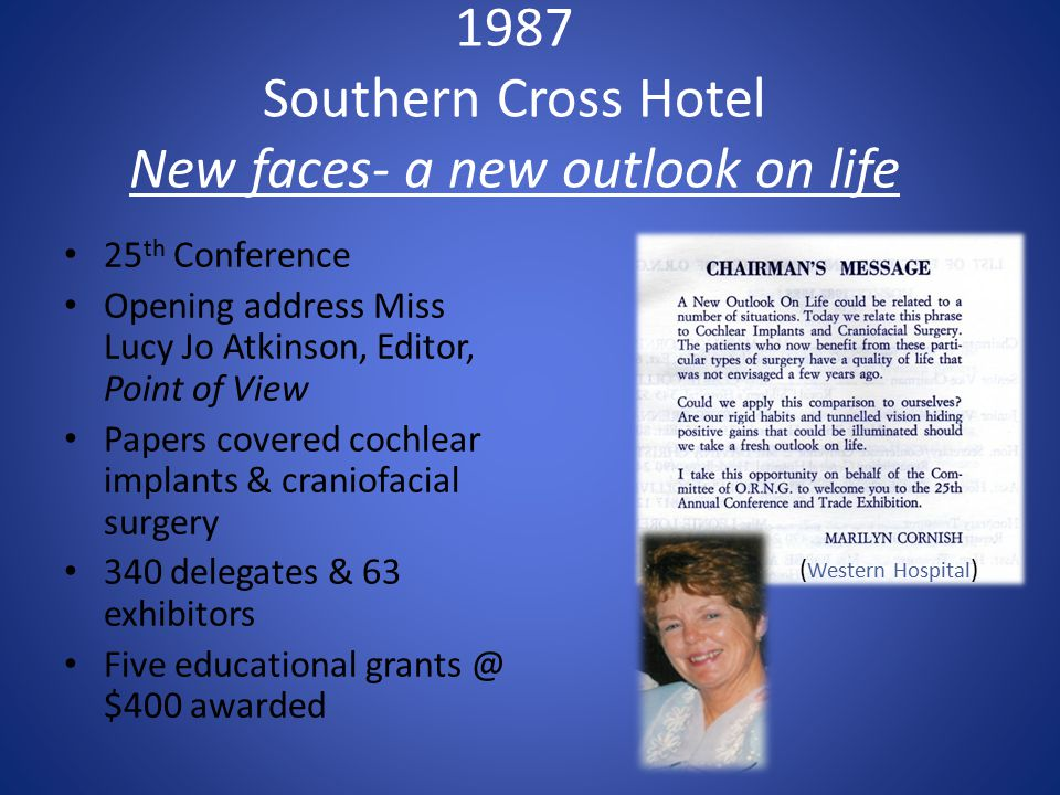 1987 Southern Cross Hotel New faces- a new outlook on life 25 th Conference Opening address Miss Lucy Jo Atkinson, Editor, Point of View Papers covere