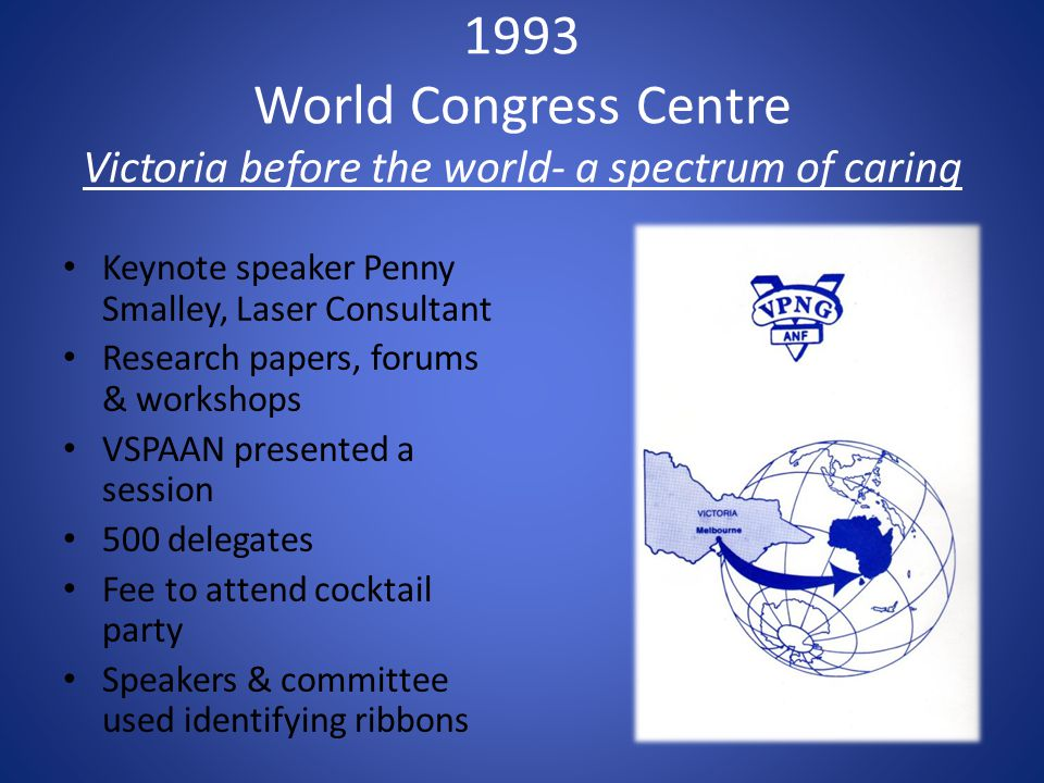 1993 World Congress Centre Victoria before the world- a spectrum of caring Keynote speaker Penny Smalley, Laser Consultant Research papers, forums & workshops VSPAAN presented a session 500 delegates Fee to attend cocktail party Speakers & committee used identifying ribbons