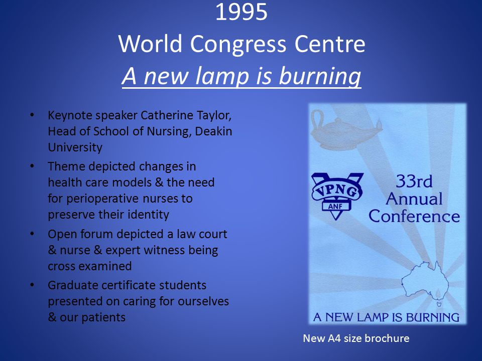 1995 World Congress Centre A new lamp is burning Keynote speaker Catherine Taylor, Head of School of Nursing, Deakin University Theme depicted changes in health care models & the need for perioperative nurses to preserve their identity Open forum depicted a law court & nurse & expert witness being cross examined Graduate certificate students presented on caring for ourselves & our patients New A4 size brochure