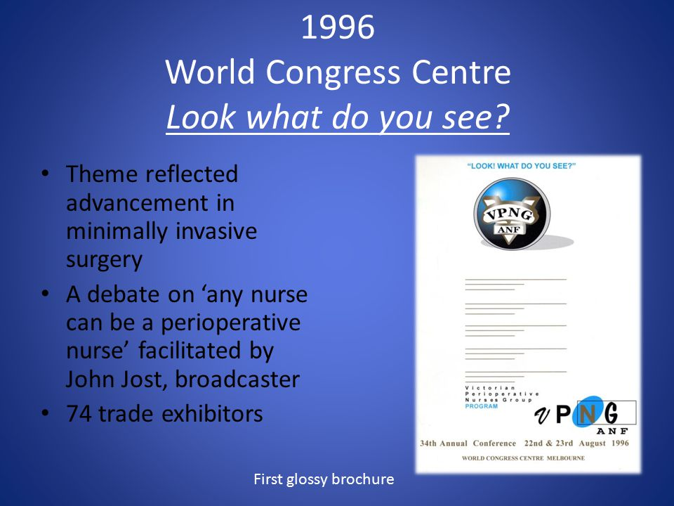 1996 World Congress Centre Look what do you see? Theme reflected advancement in minimally invasive surgery A debate on 'any nurse can be a perioperati