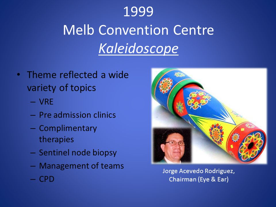 1999 Melb Convention Centre Kaleidoscope Theme reflected a wide variety of topics – VRE – Pre admission clinics – Complimentary therapies – Sentinel node biopsy – Management of teams – CPD Jorge Acevedo Rodriguez, Chairman (Eye & Ear)