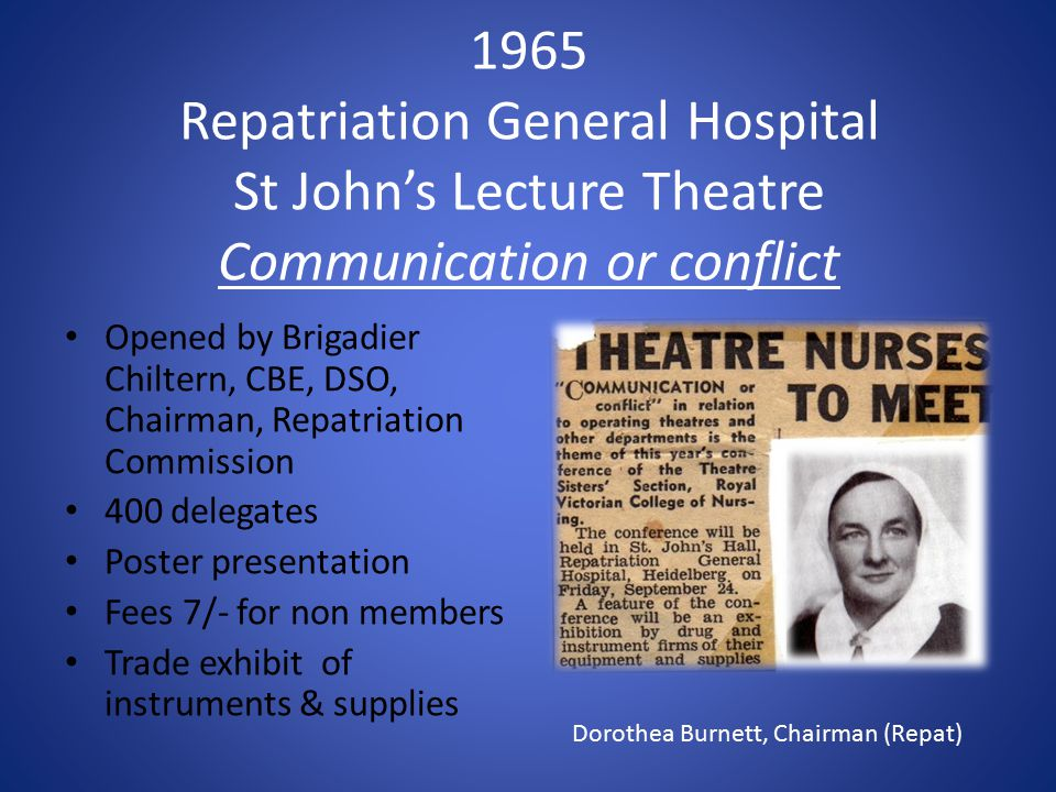 1965 Repatriation General Hospital St John's Lecture Theatre Communication or conflict Opened by Brigadier Chiltern, CBE, DSO, Chairman, Repatriation Commission 400 delegates Poster presentation Fees 7/- for non members Trade exhibit of instruments & supplies Dorothea Burnett, Chairman (Repat)