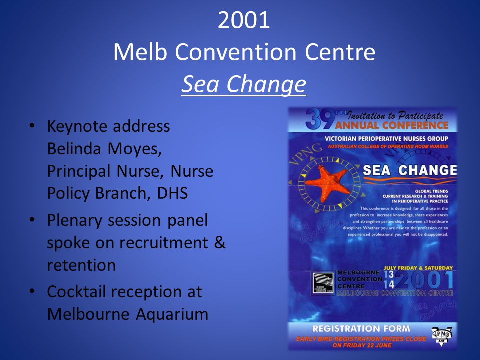 2001 Melb Convention Centre Sea Change Keynote address Belinda Moyes, Principal Nurse, Nurse Policy Branch, DHS Plenary session panel spoke on recruit