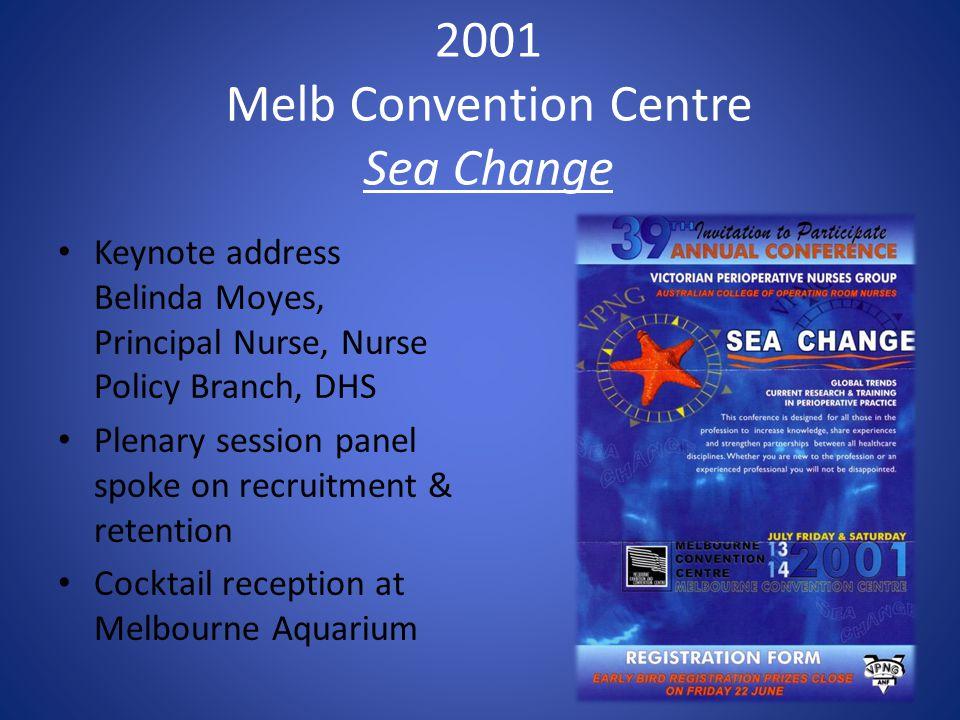 2001 Melb Convention Centre Sea Change Keynote address Belinda Moyes, Principal Nurse, Nurse Policy Branch, DHS Plenary session panel spoke on recruitment & retention Cocktail reception at Melbourne Aquarium