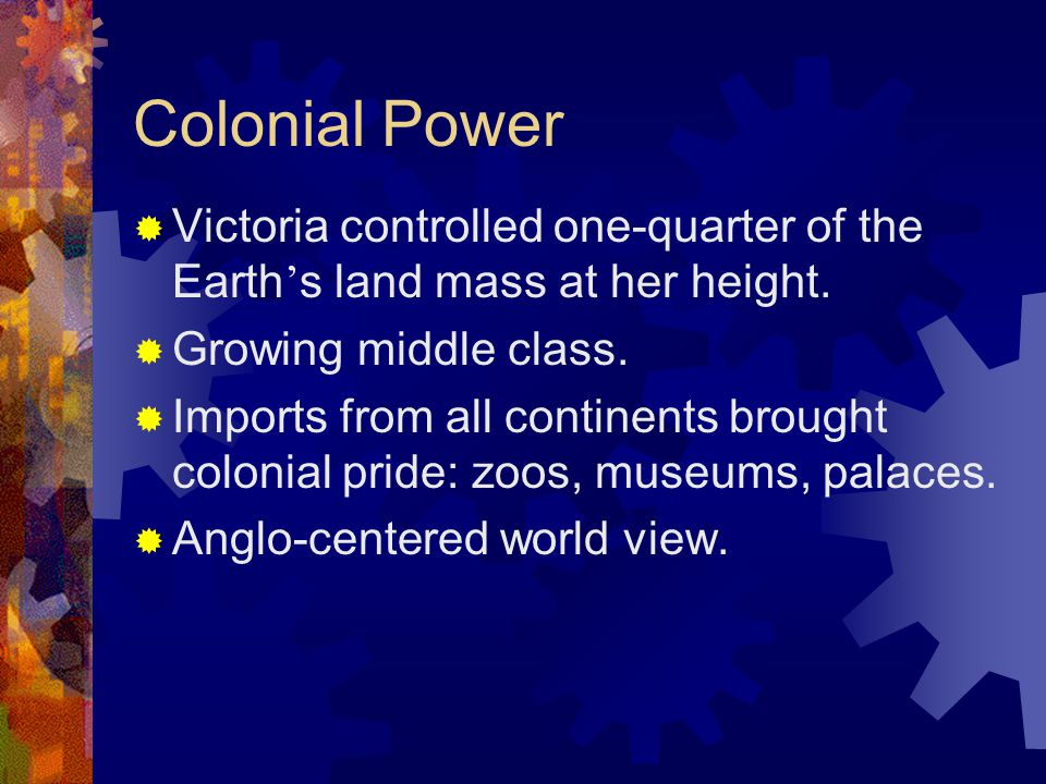 Colonial Power  Victoria controlled one-quarter of the Earth ' s land mass at her height.