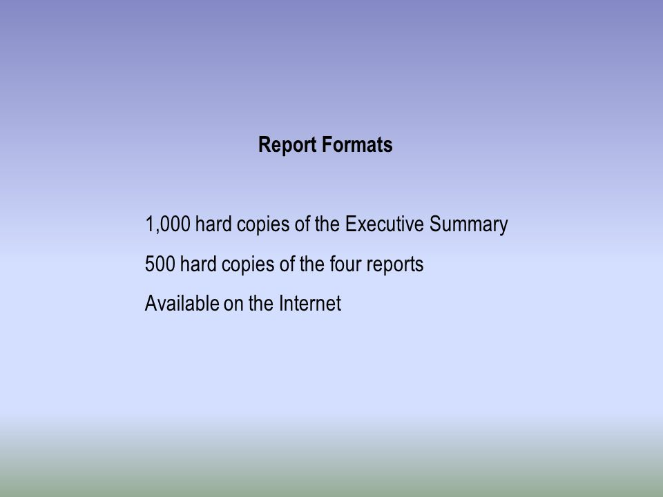 Report Formats 1,000 hard copies of the Executive Summary 500 hard copies of the four reports Available on the Internet