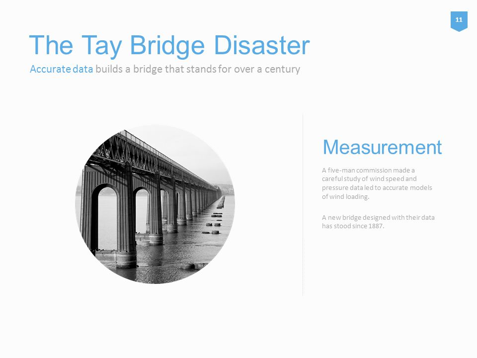 The Tay Bridge Disaster Accurate data builds a bridge that stands for over a century A five-man commission made a careful study of wind speed and pressure data led to accurate models of wind loading.