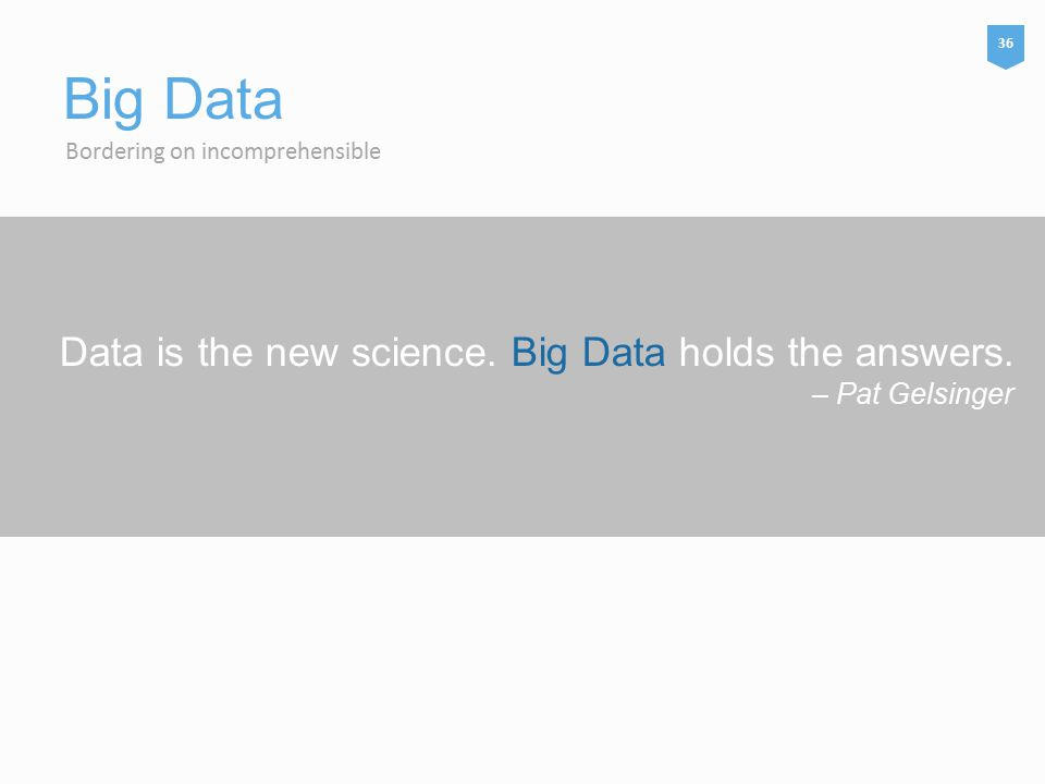 Data is the new science. Big Data holds the answers.