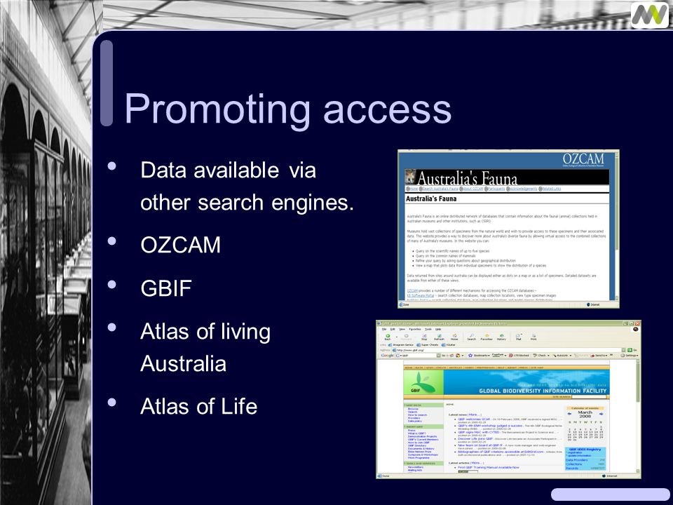 Promoting access Data available via other search engines.
