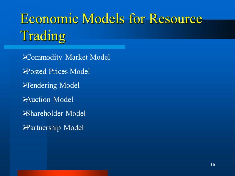16 Economic Models for Resource Trading  Commodity Market Model  Posted Prices Model  Tendering Model  Auction Model  Shareholder Model  Partner