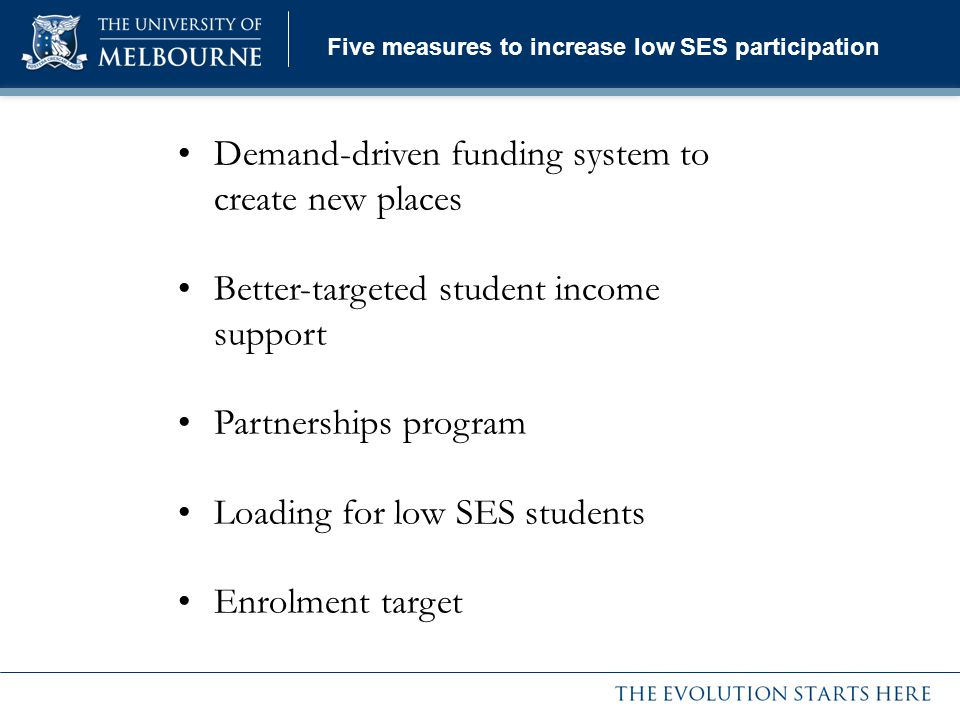 Five measures to increase low SES participation Demand-driven funding system to create new places Better-targeted student income support Partnerships