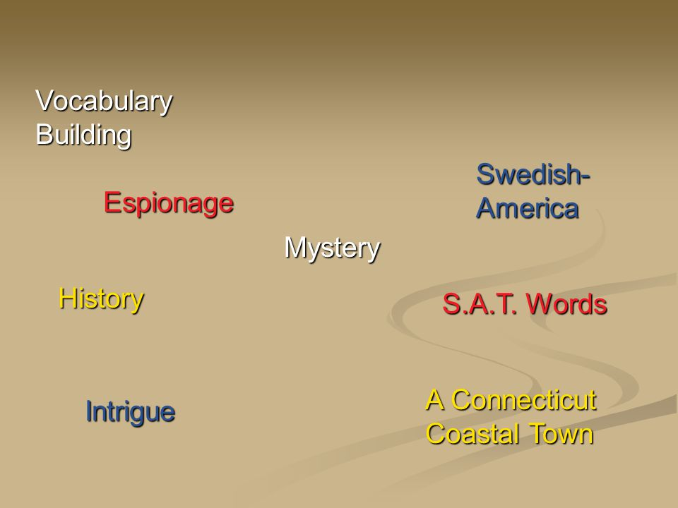 Intrigue Espionage History Vocabulary Building Swedish- America A Connecticut Coastal Town Mystery S.A.T.