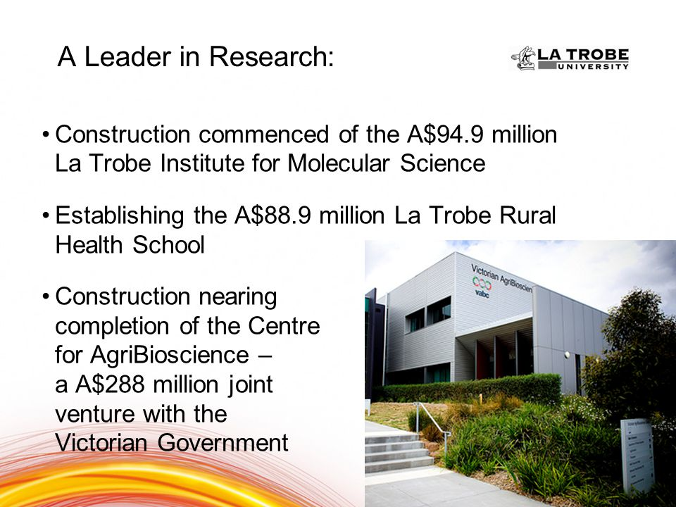 A Leader in Research: Biological sciences Condensed matter Physics Human movement Sports science Biotechnology and cell biology History Archaeology Language Communication and culture Tourism Well Above world standard – leader in the field within Australia Above World standard - 5 rating Above World standard - 4 rating