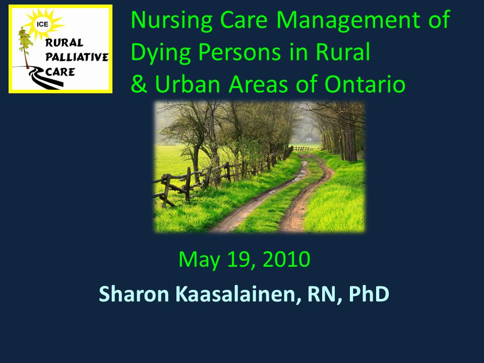 Nursing Care Management of Dying Persons in Rural & Urban Areas of Ontario May 19, 2010 Sharon Kaasalainen, RN, PhD