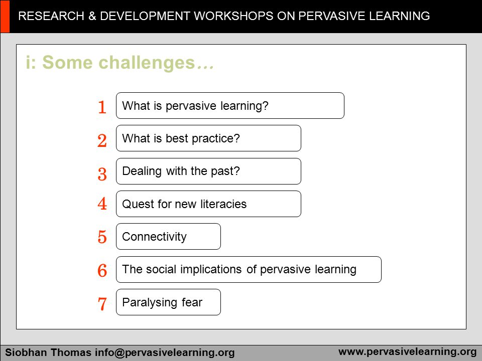 Research & Development Workshops on Pervasive Learning Siobhan Thomas info@pervasivelearning.orgwww.pervasivelearning.org RESEARCH & DEVELOPMENT WORKSHOPS ON PERVASIVE LEARNING Siobhan Thomas info@pervasivelearning.orgwww.pervasivelearning.org 13 Principles of Pervasive Learning Model can be used for design or evaluation
