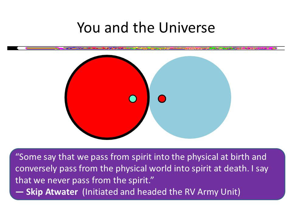 You and the Universe Some say that we pass from spirit into the physical at birth and conversely pass from the physical world into spirit at death.