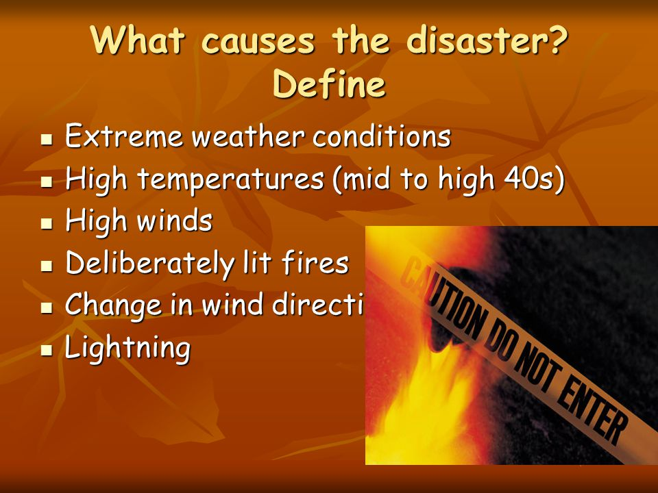 What causes the disaster.