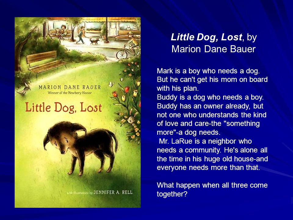 Little Dog, Lost, by Marion Dane Bauer Mark is a boy who needs a dog. But he can't get his mom on board with his plan. Buddy is a dog who needs a boy.