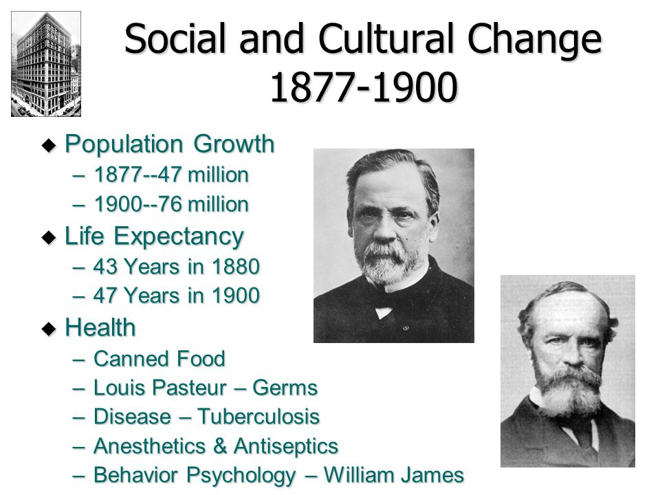 Social and Cultural Change 1877-1900  Population Growth –1877--47 million –1900--76 million  Life Expectancy –43 Years in 1880 –47 Years in 1900  H