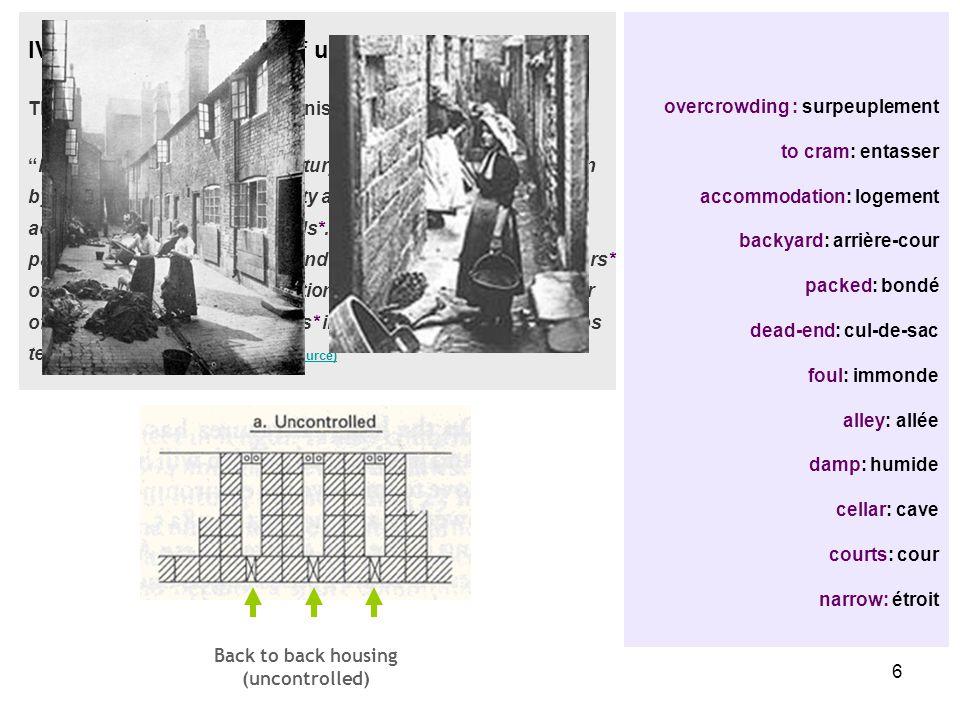 6 overcrowding : surpeuplement to cram: entasser accommodation: logement backyard: arrière-cour packed: bondé dead-end: cul-de-sac foul: immonde alley: allée damp: humide cellar: cave courts: cour narrow: étroit IV.