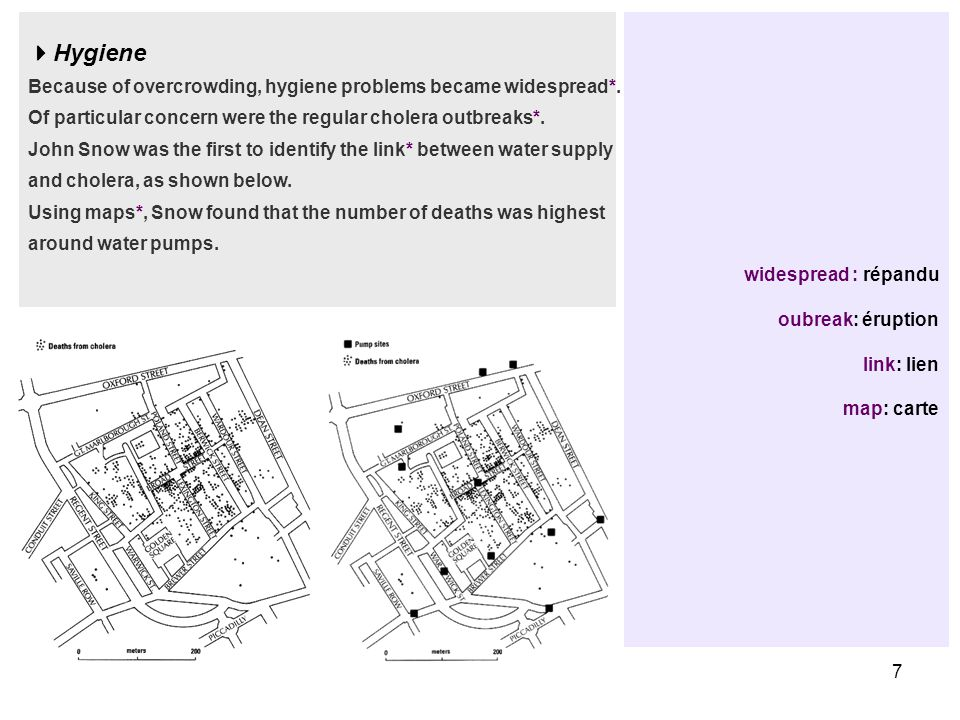 7 widespread : répandu oubreak: éruption link: lien map: carte  Hygiene Because of overcrowding, hygiene problems became widespread*.