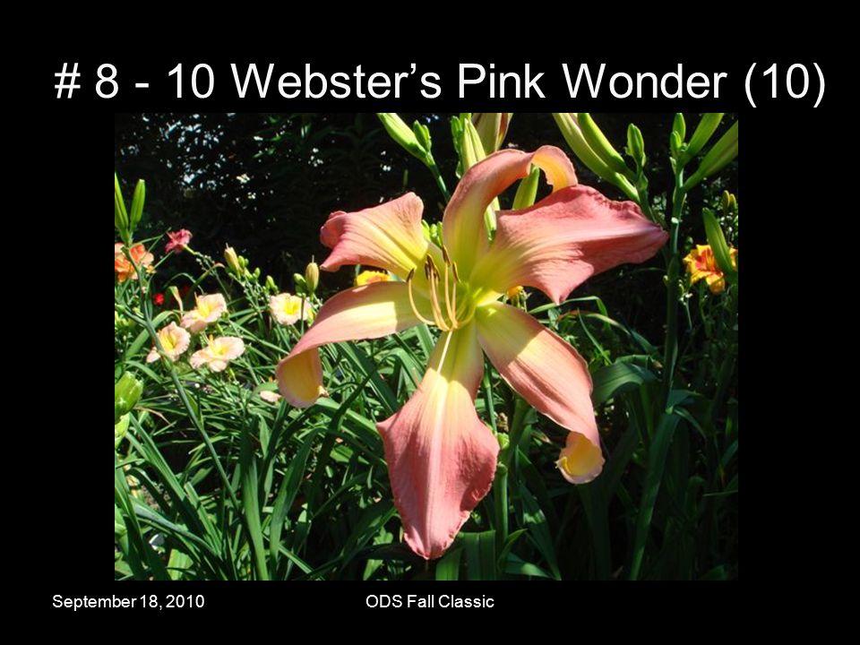 September 18, 2010ODS Fall Classic # 8 - 10 Webster's Pink Wonder (10)