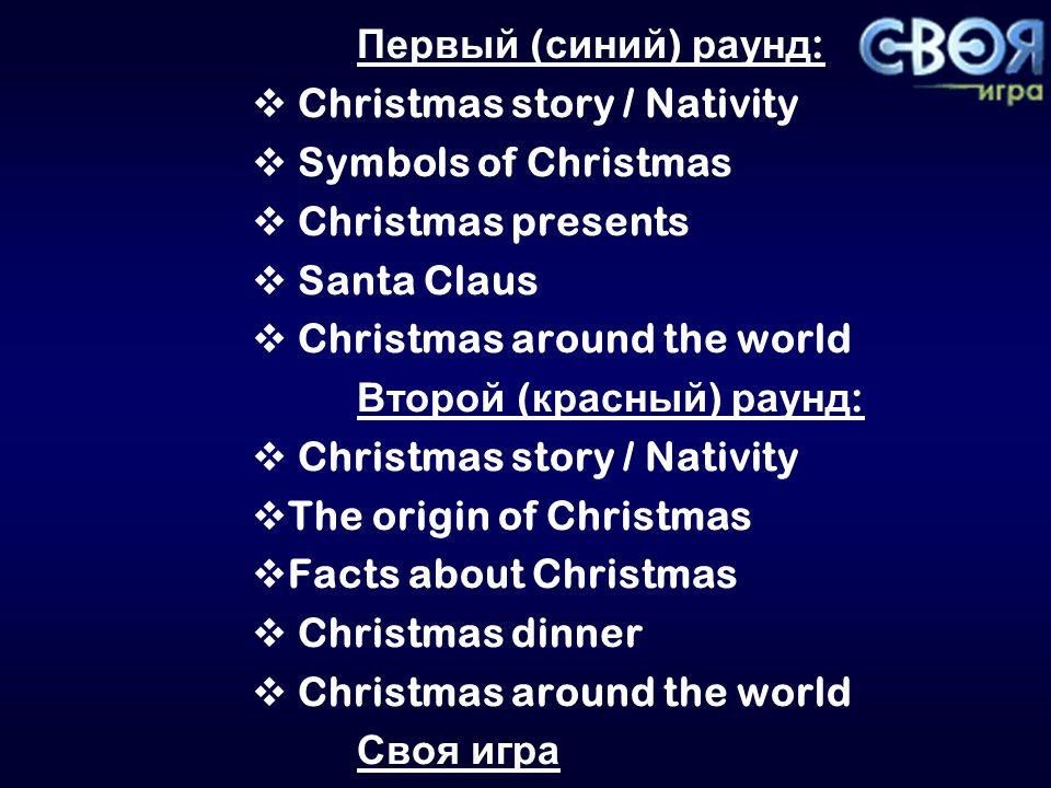 Christmas story / Nativity 1020304050 Symbols of Christmas 1020304050 Christmas presents 1020304050 Santa Claus 1020304050 Christmas around the world 1020304050
