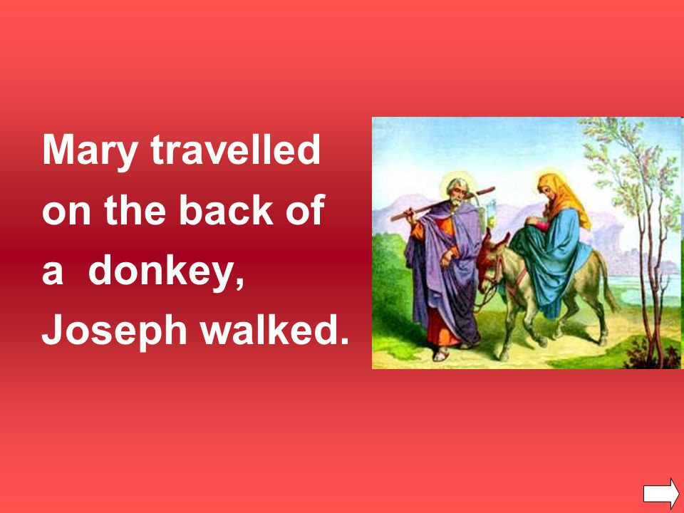 Mary travelled on the back of a donkey, Joseph walked.