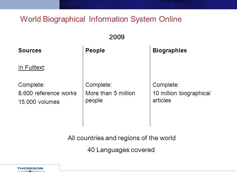 World Biographical Information System Online Sources In Fulltext: Complete: 8.600 reference works 15.000 volumes People Complete: More than 5 million
