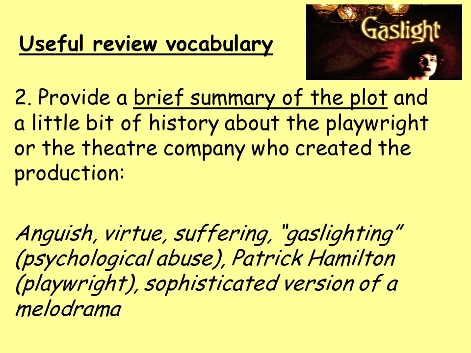 Useful review vocabulary 3.Discuss the performance s direction.