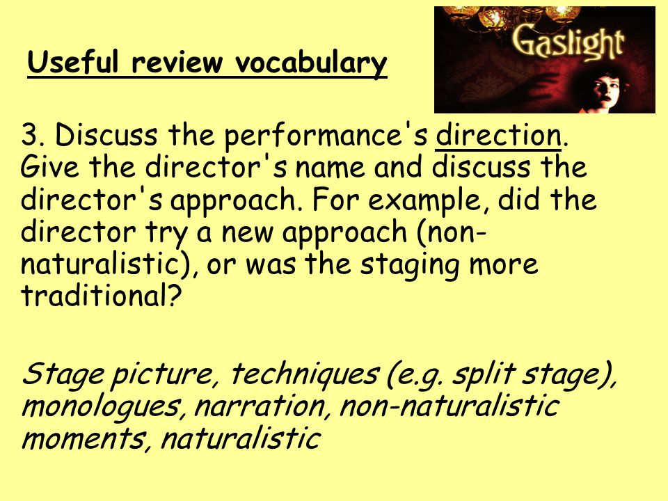 Useful review vocabulary 3. Discuss the performance s direction.