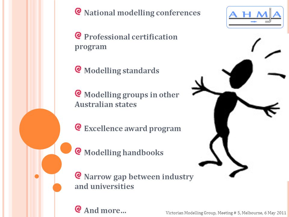 Victorian Modelling Group, Meeting # 5, Melbourne, 6 May 2011 National modelling conferences Professional certification program Modelling standards Modelling groups in other Australian states Excellence award program Modelling handbooks Narrow gap between industry and universities And more…