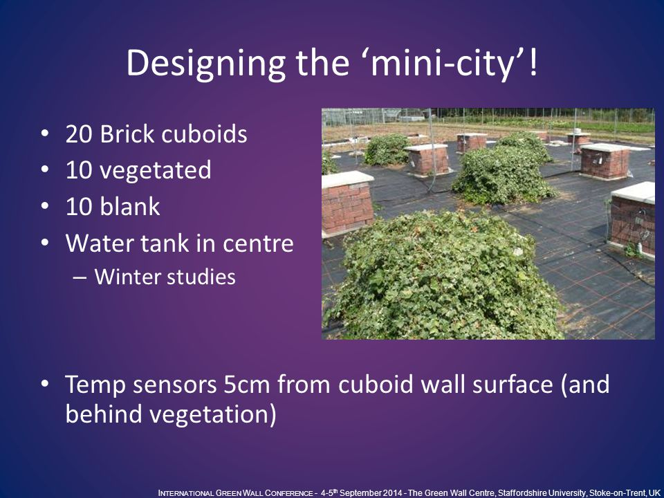 I NTERNATIONAL G REEN W ALL C ONFERENCE - 4-5 th September 2014 - The Green Wall Centre, Staffordshire University, Stoke-on-Trent, UK Designing the 'mini-city'.