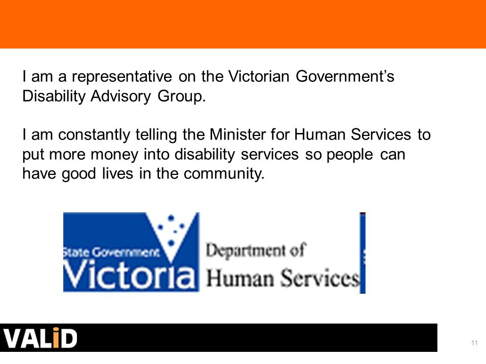 11 I am a representative on the Victorian Government's Disability Advisory Group.