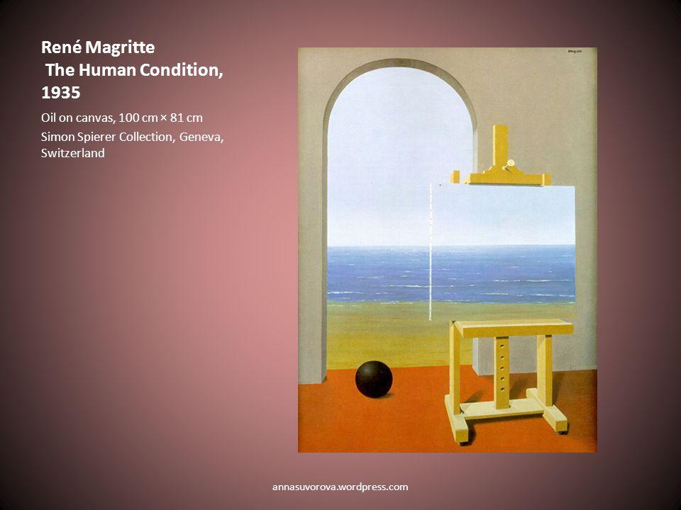 René Magritte The Human Condition, 1935 Oil on canvas, 100 cm × 81 cm Simon Spierer Collection, Geneva, Switzerland annasuvorova.wordpress.com