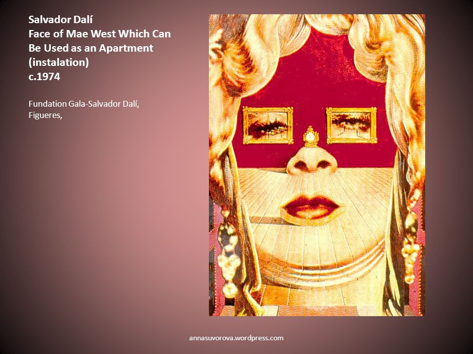 Salvador Dalí Face of Mae West Which Can Be Used as an Apartment (instalation) c.1974 Fundation Gala-Salvador Dalí, Figueres, annasuvorova.wordpress.com