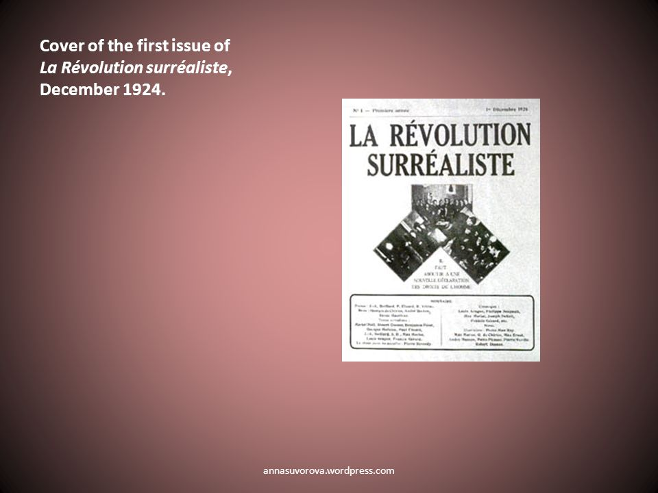 Cover of the first issue of La Révolution surréaliste, December 1924. annasuvorova.wordpress.com