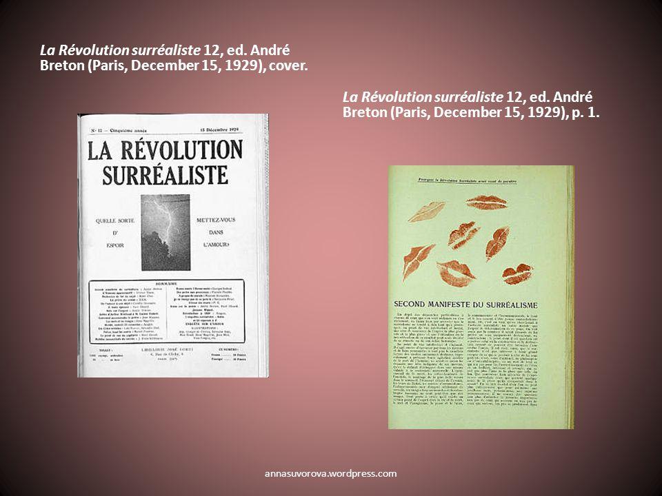 La Révolution surréaliste 12, ed. André Breton (Paris, December 15, 1929), cover.