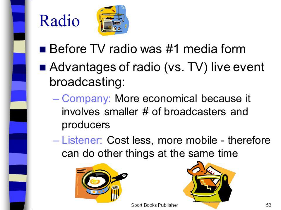 Sport Books Publisher53 Radio Before TV radio was #1 media form Advantages of radio (vs.
