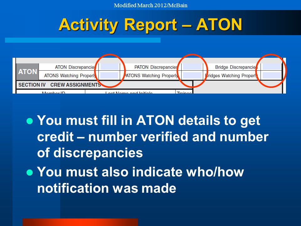 Activity Report – ATON You must fill in ATON details to get credit – number verified and number of discrepancies You must also indicate who/how notification was made Modified March 2012/McBain