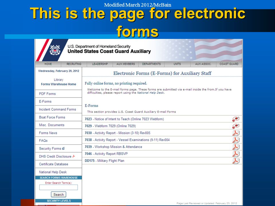 This is the page for electronic forms Modified March 2012/McBain
