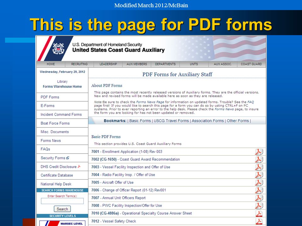 This is the page for PDF forms Modified March 2012/McBain