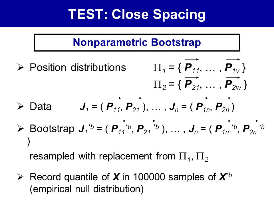 TEST: Close Spacing  Position distributions  1 = { P 11, …, P 1v }  2 = { P 21, …, P 2w }  Data J 1 = ( P 11, P 21 ), …, J n = ( P 1n, P 2n )  Bootstrap J 1 *b = ( P 11 *b, P 21 *b ), …, J n = ( P 1n *b, P 2n *b ) resampled with replacement from  1,  2  Record quantile of X in 100000 samples of X *b (empirical null distribution) Nonparametric Bootstrap